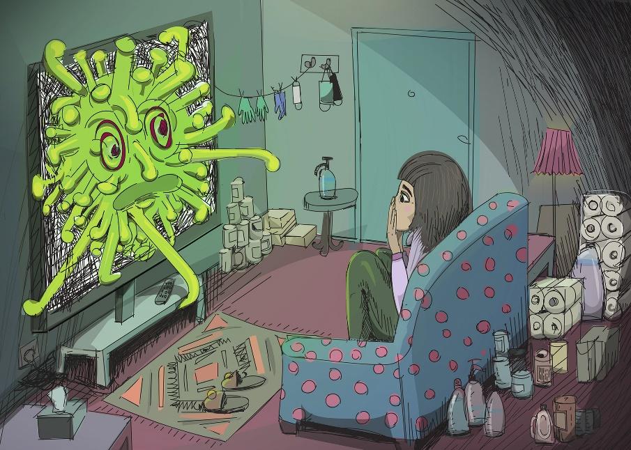 図4 コロナウイルスの擬人化の例。Alicja Wieczorek「Fear」